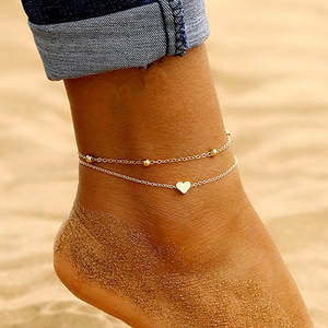 Anklets Sandals Leg-Chain Foot Jewelry Crochet Barefoot Heart Women Female Simple New