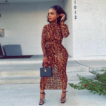Two Piece Skirt Set Mesh Leopard Sexy Festival Clothes Long Sleeve Crop Tops Women And Party Maxi Skirts Perspective Club Outfit
