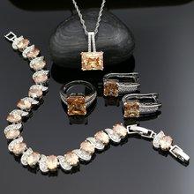 925 серебряные Свадебные Ювелирные наборы кубический цирконий