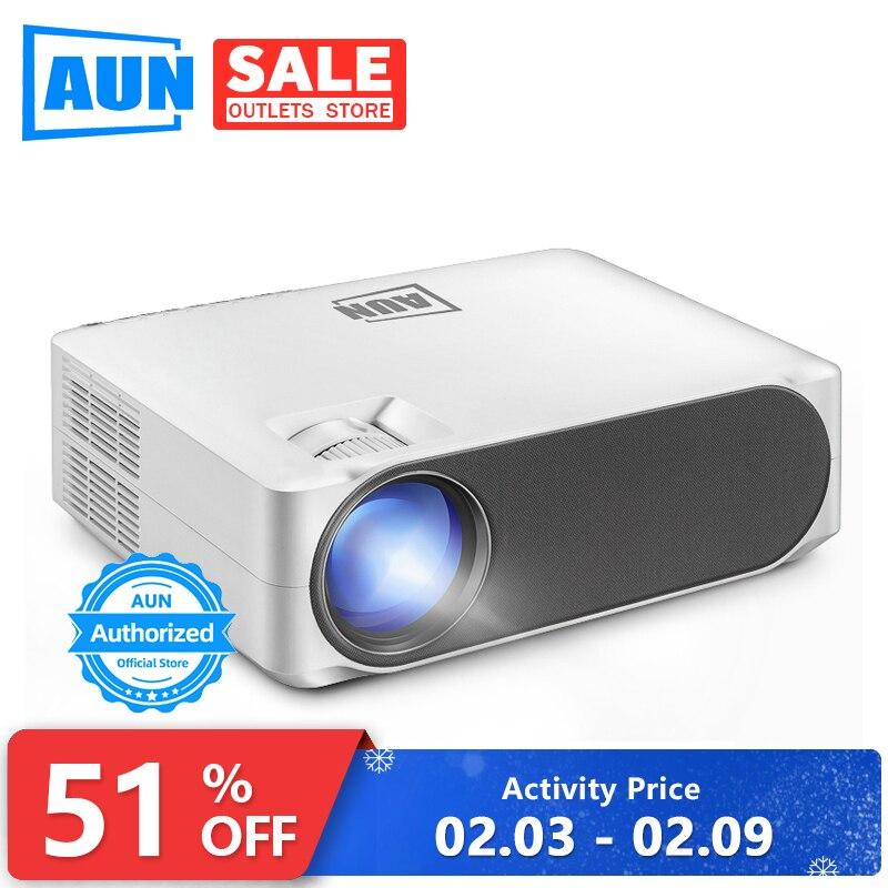 AUN vidéoprojecteur full hd LED AKEY6, 1920x1080 P, mise à niveau 6,800 Lumens, Home Cinema, projecteur vidéo 3D (en option Android 6.0 WiFi)
