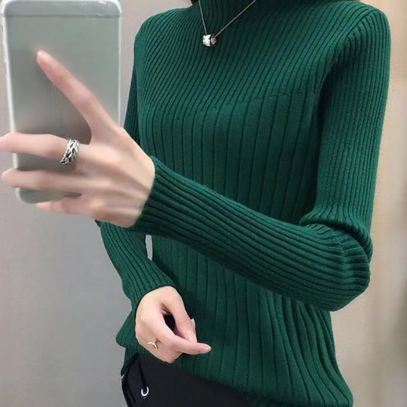 Women Sweater Knitted Winter Sweater New Half-high Collar Sweater Solid Color Slim Long-sleeved Pullover Sweater Tops