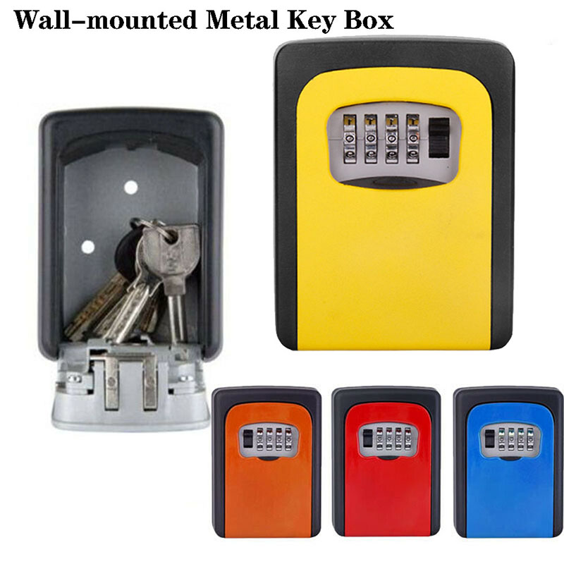 Mool Key Lock Box Wall Mounted 2019 Aluminum Alloy Key Safe Box Weatherproof 4 Digit Combination Key Storage Box Indoor Outdoor