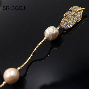 Image 5 - Free Shipping Lavender Edsion FW Pearl Beads Gold Color Leaf Clasp Lady Jewelry Statement Necklace 9 10mm 60""
