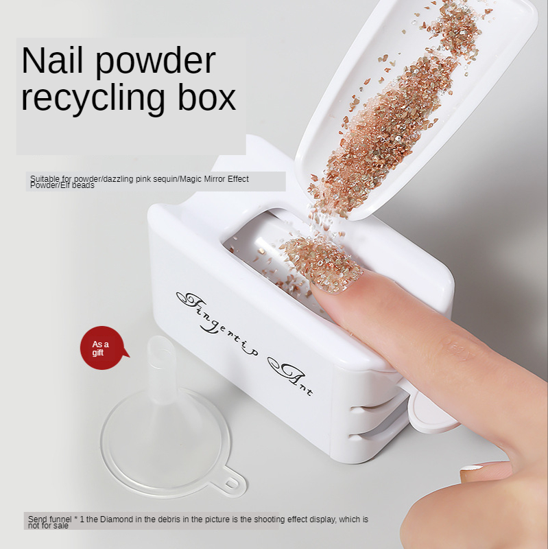 White ABS Double Layer French Powder Box Recycled Nail Powder Storage Box Portable Infiltration Powder Container Nail Tool D302