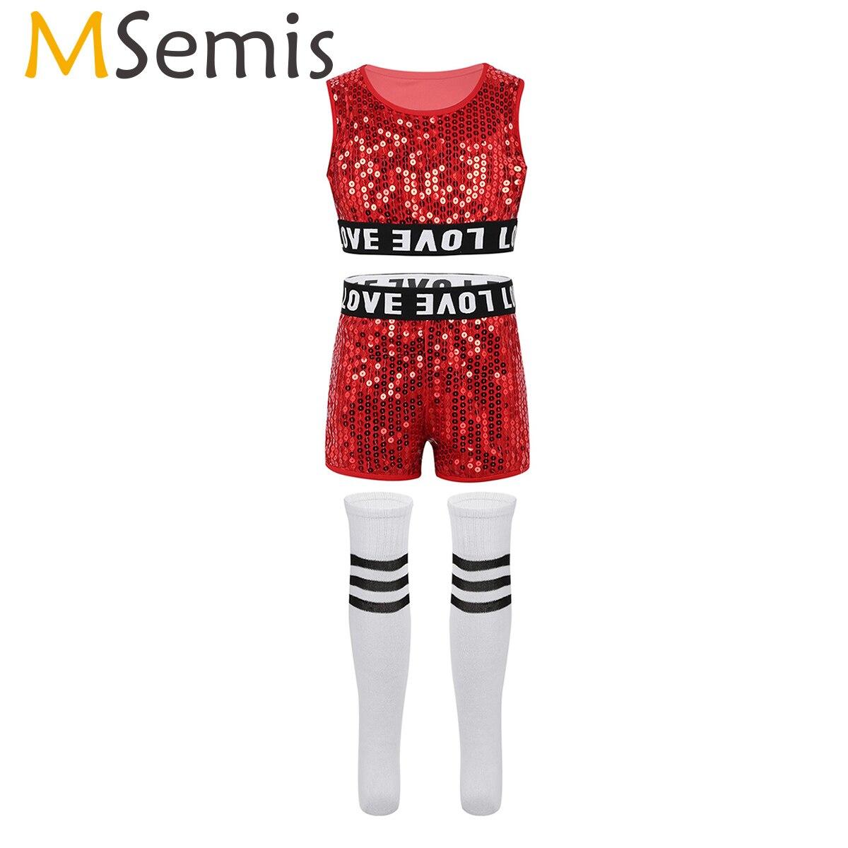 Children Kids Ballroom Jazz Street Hip Hop Dance Costumes Clothes Outfit Teens Girls Boys Sequins Crop Top Booty Shorts Socks