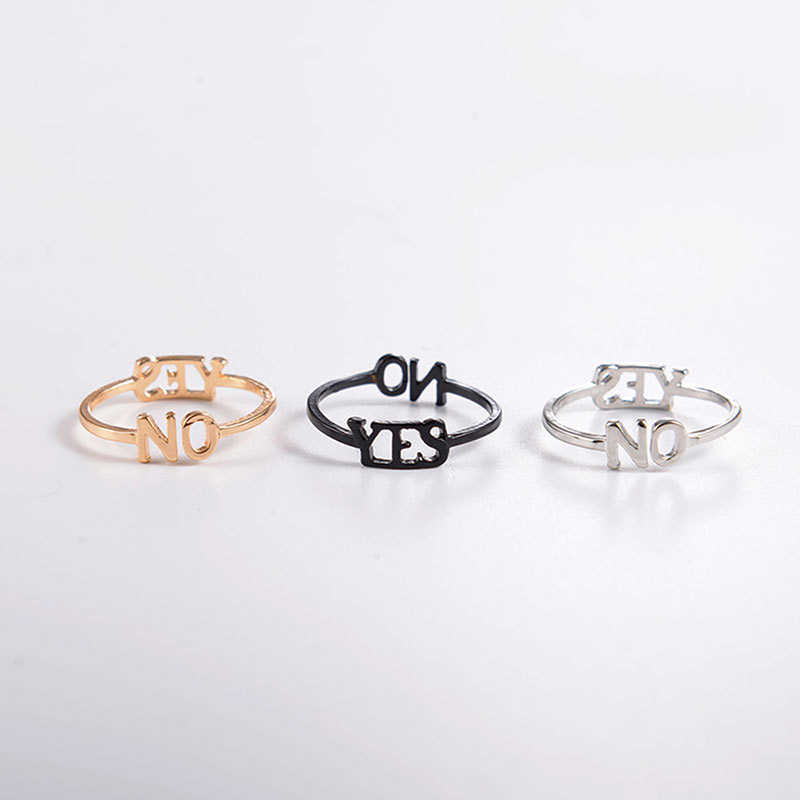 Statement Men Women Yes Wedding Rings Gold Silver Black Finger Ring Accessories