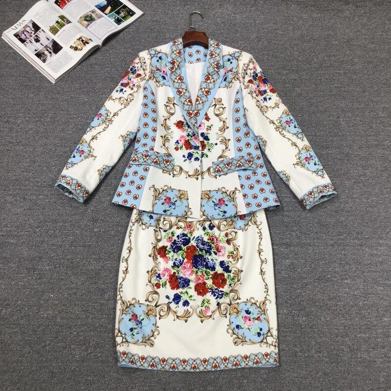 GoodliShowsi Autumn High End Noble Women Sets Skirt Suits Floral  Print One Button Suit Tops   Bodycon Pencil Skirt Matching SetsSkirt  Suits