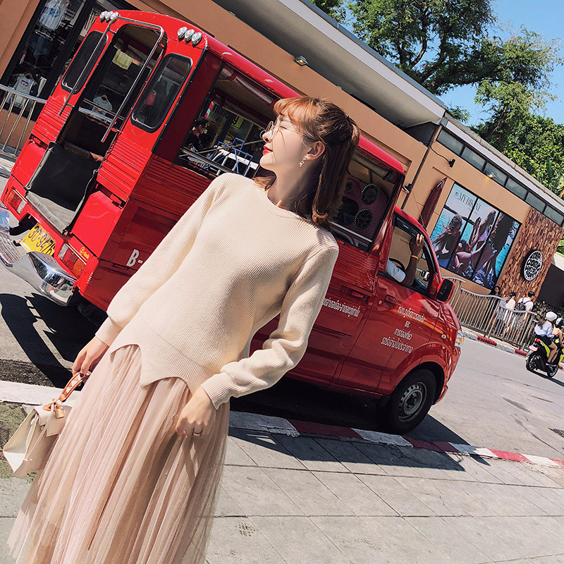 [Dowisi] WOMEN'S Dress Wholesale 2018 Spring New Style Korean-style Two-Piece Sweater Gauze Skirt F6271