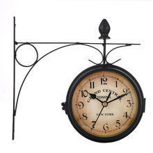 European Style Clock Iron Art Wall Retro Decoration Double-sided Double Sided
