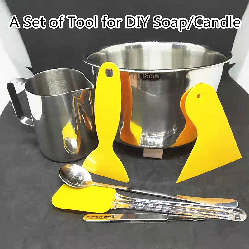 A Set Of Soap Making Tools DIY Candle Kits Soy Wax Melts Material Pot 350ml Cup/Mug Mixing Spoon Tweezers 18cm Wax Melting Pot