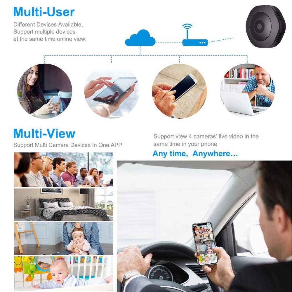 Mini Macchina Fotografica HD 1080P WiFi Intelligente con Visione Notturna di Rilevamento del Movimento Video Voice Recorder di sicurezza hd senza fili di Piccola Cam nascosta TF