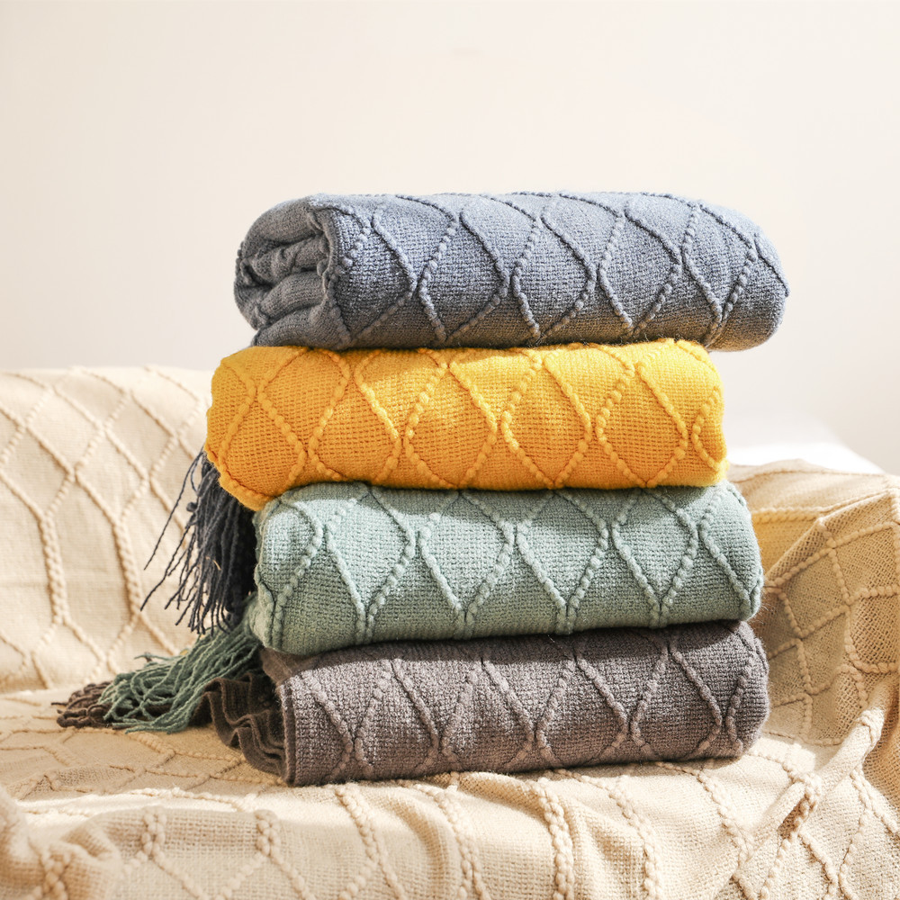 Inya Throw Blanket Textured Solid Soft Sofa Couch Cover Decorative Knitted Blanket Weighted Knit Blanket