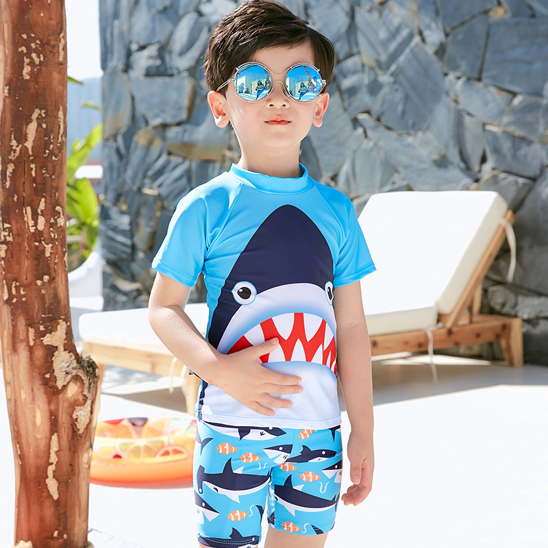 Korean-style New Style Small Shark Split Type Sun-resistant BOY'S Swimsuit Children Baby Great White Shark Children Bathing Suit