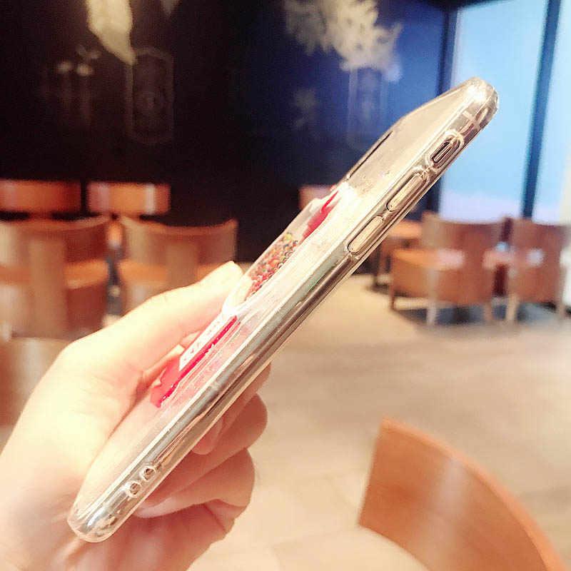 Carcasa para iPhone 6 6S Plus 7 8 plus X XS X MAX XR 11 Pro coque brillo blingbling fluye cuentas de teléfono suave cubierta capa
