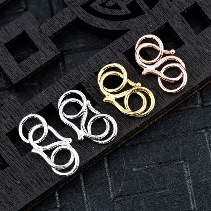 100% 925 Sterling Silver S Clasp Hooks With Rings Bracelets Necklace Connector Buckle Clasps DIY Fancy Jewelry Making Findings