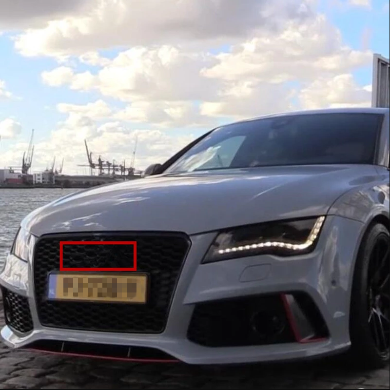 Emblem Badge For Audi A3 A4 A4L A6L TT Q3 Q5 Q7 A5 A7 RS3 RS4 RS5 RS6 Front Middle 4 Ring Grille Trunk Logo Sticker Glossy Black