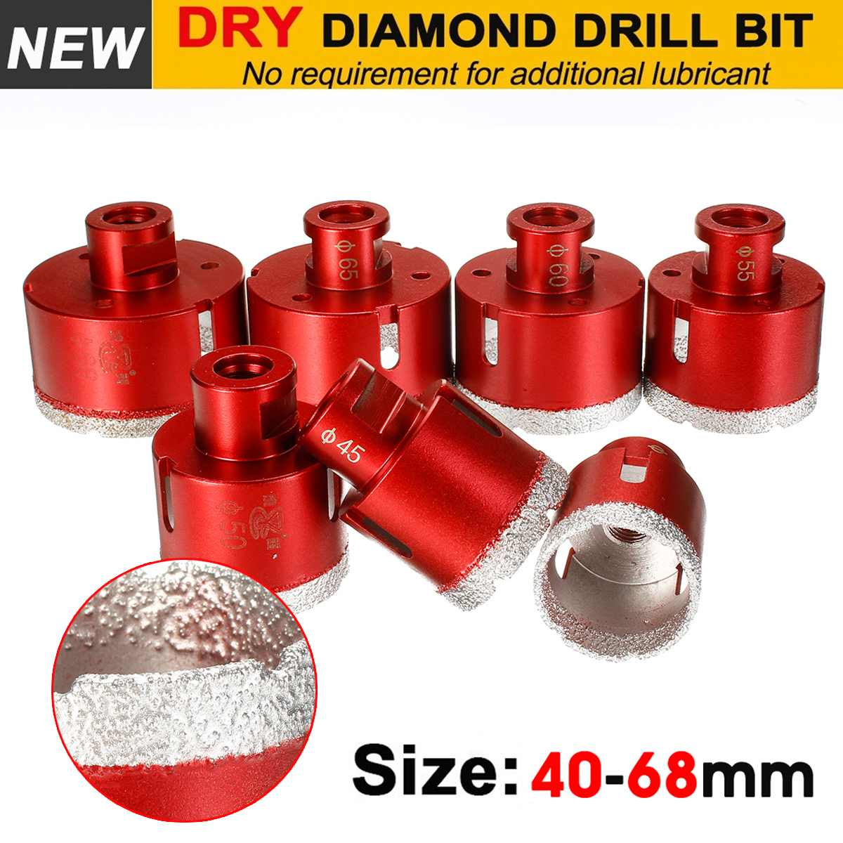 Doersupp 40-68mm M14 Diamond Drill Core Bits Drilling Hole Saw Tools For Tile Marble Granite Stone Brick Tile Ceramic Concrete