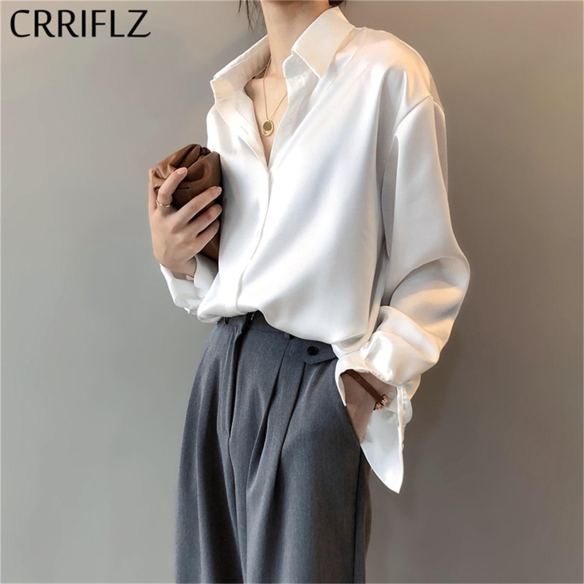 CRRIFLZ 2020 New Spring Women Fashion Long Sleeves Satin Blouse Vintage Femme V Neck Street Shirts Elegant Imitation Silk Blouse