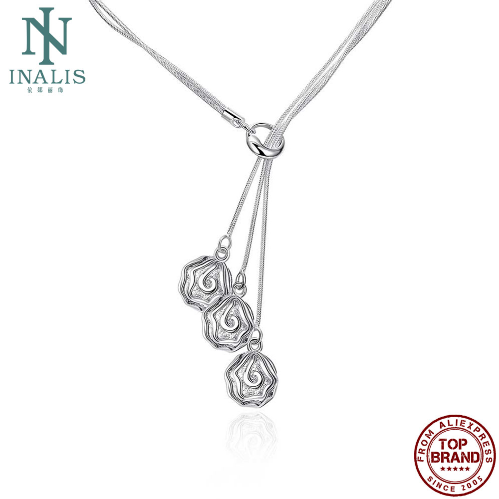 INALIS White Three Flower Shape Pendant Necklaces Plant Romantic Copper Women Necklace Valentine Day Hot Sale Fashion Jewelry