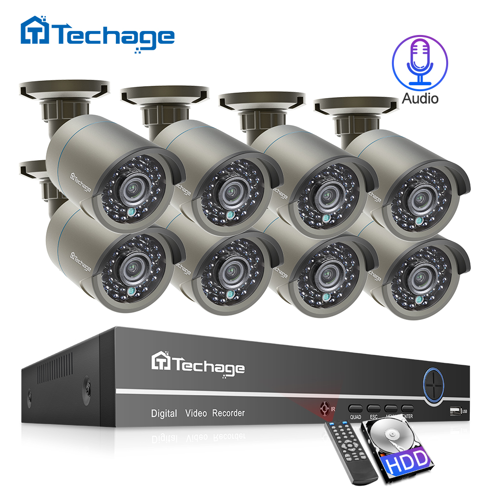 Techage H.265 8CH 1080P HDMI POE NVR Kit CCTV Sicherheit System 2,0 MP IR Outdoor Audio Record IP Kamera p2P Video Überwachung Set