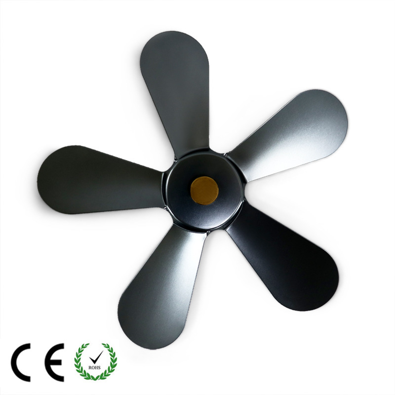 Fireplace Fan Fittings Cooling Multicolor Stove Fan Blade 5 Leaves Aluminum Heat Powered Wood Burner Stove Fan Blade Replacement