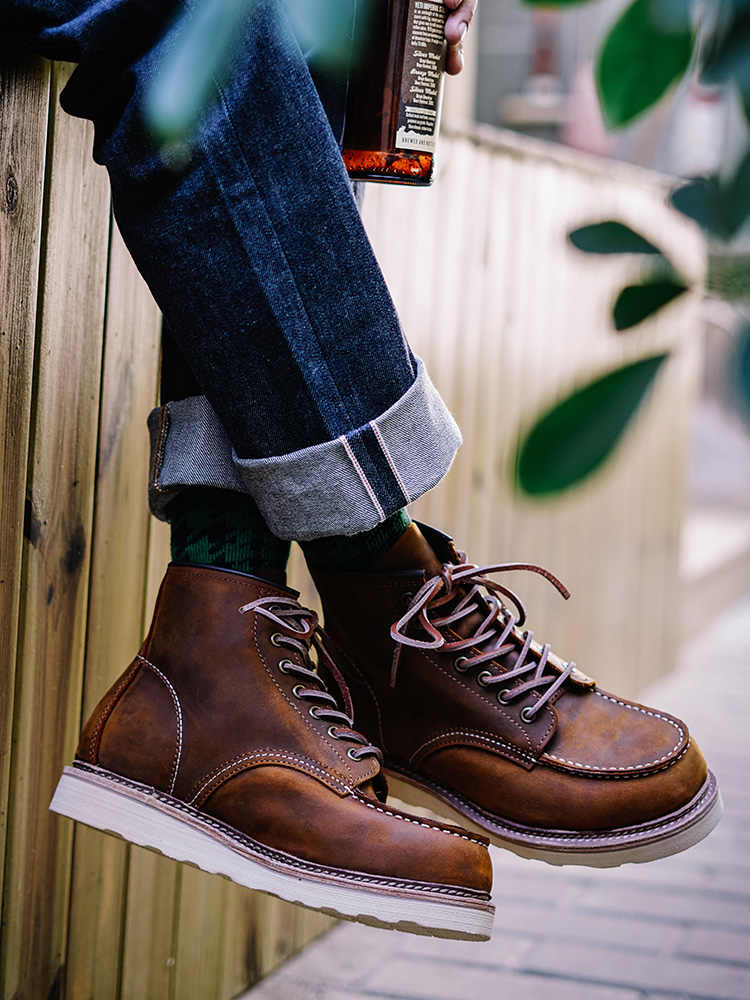 Vintage Boots Genuine Leather Men's Motorcycle men's boots Travel Outdoor  boots Motorcycle boots  - AliExpress