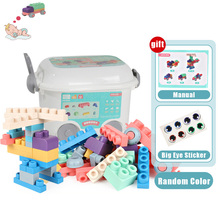 New Boxed Baby Toy 3D Soft Plastic Building Blocks Compatible Touch Hand Teethers DIY Rubber Block for Children Gift