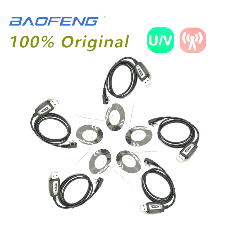 5PCS Baofeng UV-5R TKPort USB Programming Cable CD Driver For Baofeng 888S UV-5RE UV-82 F8+ Walkie Talkie Two Way Radio Accessor