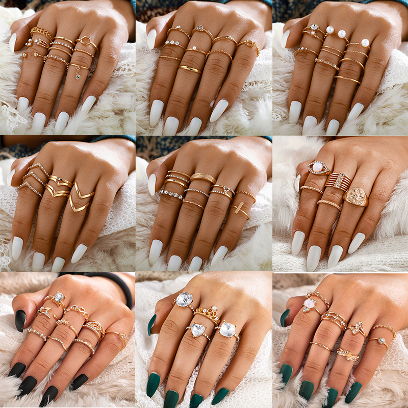 Docona Fashion Crystal Sun Pearl Rings Set for Women Gold Color Geometric Heart Knuckle Finger Rings Female 2020 Jewelry Anillos