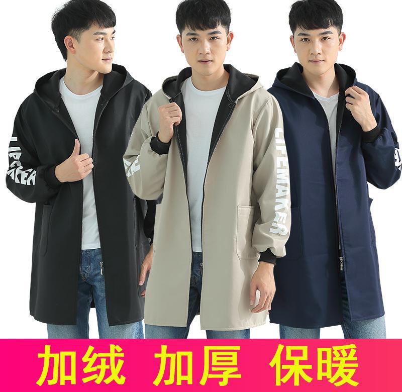 耐油コート Overclothes 男性と女性冬の起毛と厚く暖かいファッション時間防水大人長袖エプロン ki