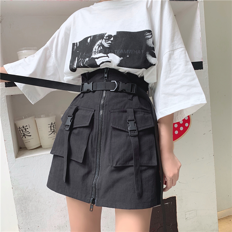 Image 3 - Women's Summer Harajuku Skirt with Belt Pocket Zipper Decorative Tooling Skirts Female Fashion High Waist Mini Skirt 2 colors-in Skirts from Women's Clothing