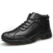 Winter non-slip plus velvet leather outdoor snow boots thick bottom northeast high to help casual cotton shoes men *83208