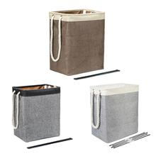 Cotton Linen Hamper Square Laundry Basket Folding Fabric With Handle Dirty Clothes Storage Bucket