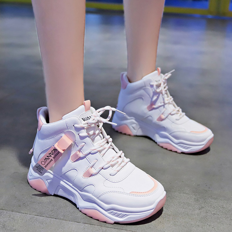 Women's basketball Fashion Lace-up Casual woman sneakers White shoes Platform sneakers Wear-resistant Running shoes Breathable