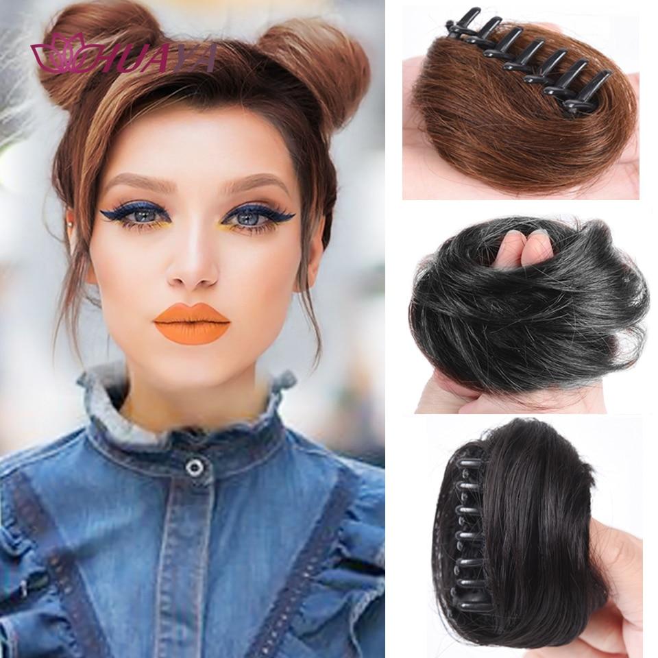 Шиньон HUAYA для удлинения синтетических волос, эластичный зажим для волос с пончиком для женщин, милая нечистоплотная резинка для волос в пуч...