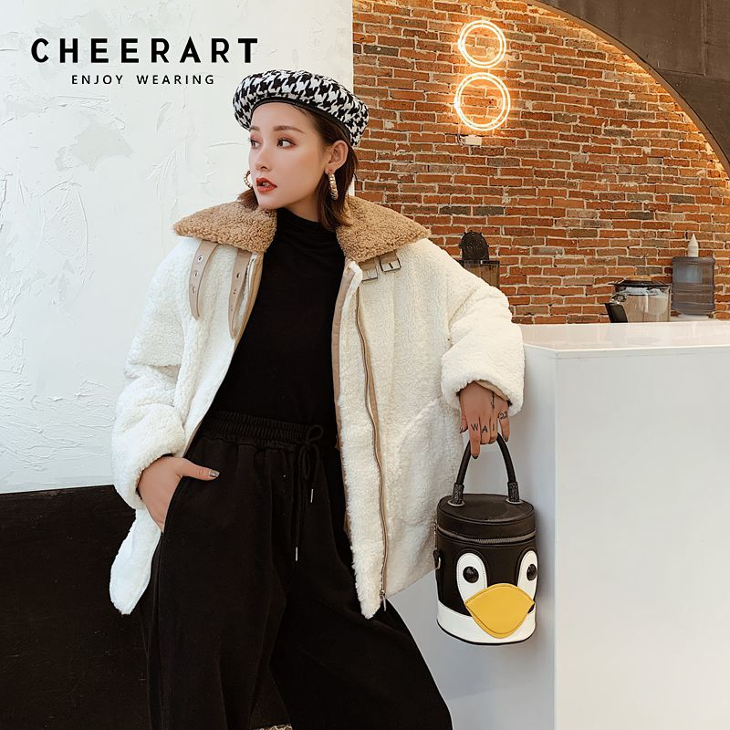 CHEERART Winter Warm Wool Coat Fluffy Jackey Faux Lambswool Coat Big Collar White Coat Camel Collar Jacket With Zipper