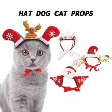 Pet Christmas Headdress Caps Felt Cloth Deer Antler Santa Claus Crown Headband for Cat Dog Christmas