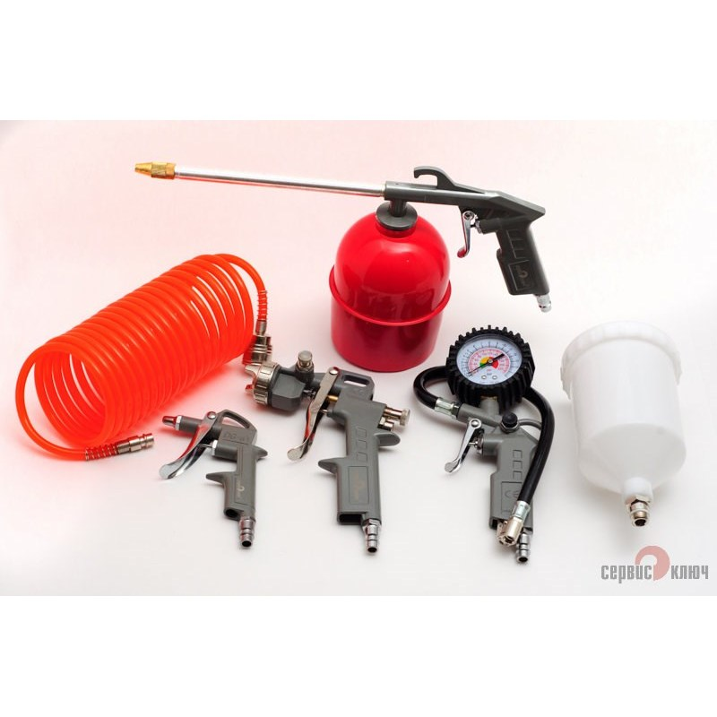 Set Of Pneumatic Tools For Painting 5 Pieces SERVICE KEY 70605