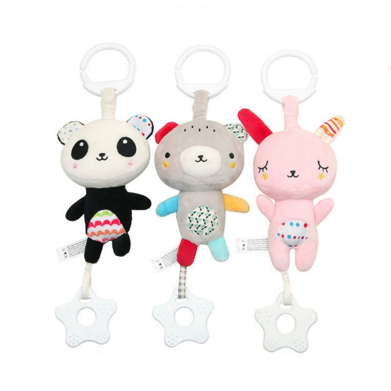 Baby Boys And Girls Teether Bracelet Molar Stick Leisure Toxic Silicone Bite Stick Vocal Music Baby Cute Animal Pattern Toys