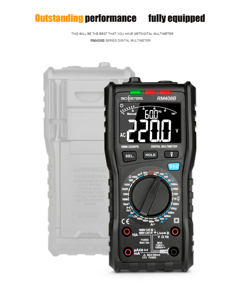 RM406B Digital Multimeter with 10000 Counts and Anti Burn Alarm for AC Voltage and Current Frequency Test 14