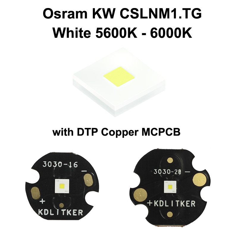 Osram KW CSLNM1.TG 6N-ebzB46-65 White 5600K - 6000K LED Emitter With KDLITKER 16mm / 20mm DTP Copper MCPCB
