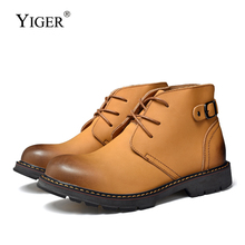 YIGER new men High-top Martins boots genuine leather casual lace-up Retro Trend shoes autumn winter man tooling warm shoes  0378 new italy designer artificial leather men ankle shoes autumn winter warm high top stamping pattern lace up man black punk shoe