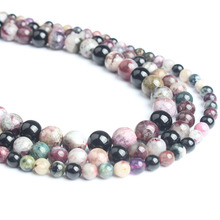 LingXiang Natural Jewelry colours Tourmaline Stones Loose Beads 4/6/8/10/12mm For Making DIY Bracelet Necklace