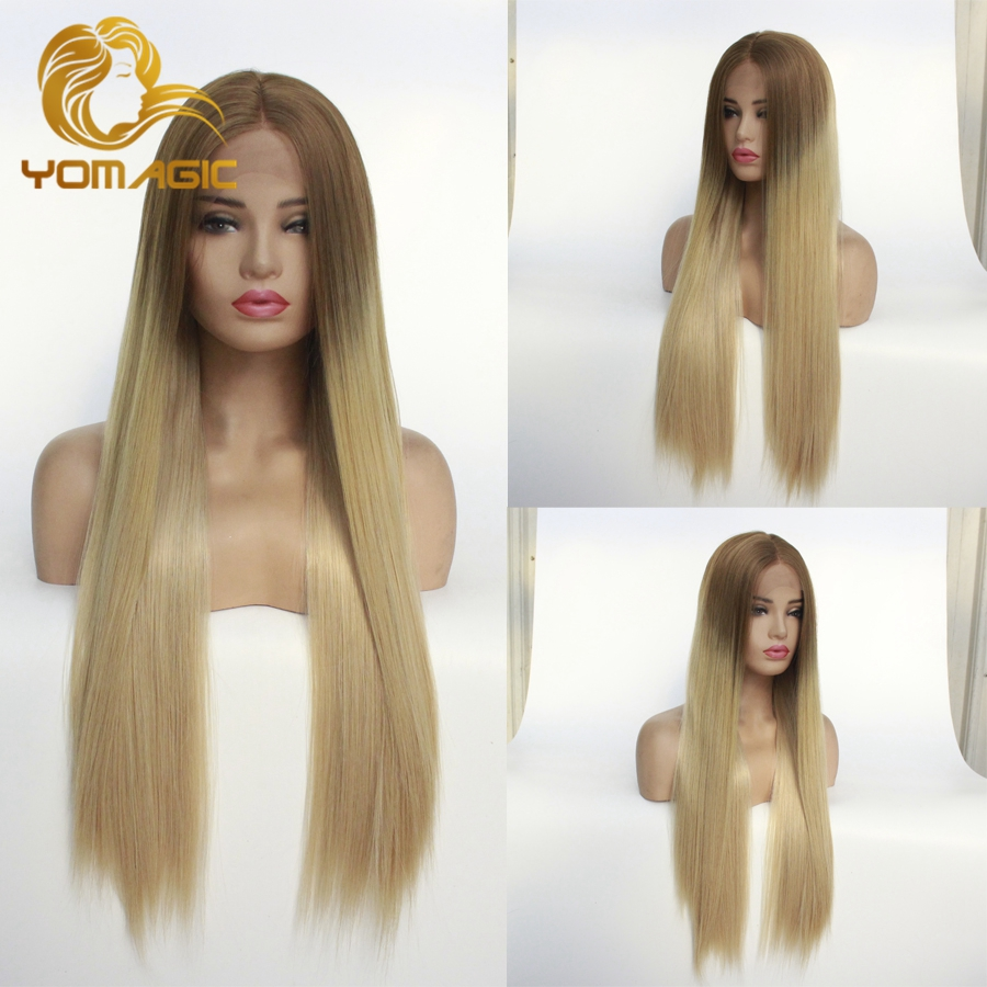 Yomagic Long Straight Synthetic Hair Lace Front Wigs Natural Hairline Ombre Brown Color Synthetic Glueless Lace Wigs