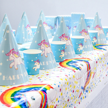 Unicorn Party Decoration Birthday Cake Toppers Unicorn Theme Paper Cup Hat Napkins Plate Tablecloth Kid Gift Party Supplies children s birthday dinosaur cutlery party supplies set paper hat paper cup paper tablecloth gift bag props