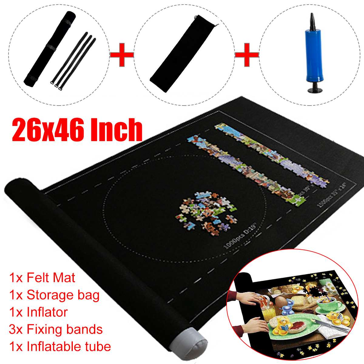 Puzzles Mat Jigsaw Roll Felt Mat Puzzles Play Blanket Large For Up To 1500 Pieces Puzzle Accessories Portable Travel Storage Bag