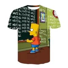 QUATEE Homer Simpson Bart Printed T Shirt for Hommes Anime Design Cotton Adult Unisex T-Shirt