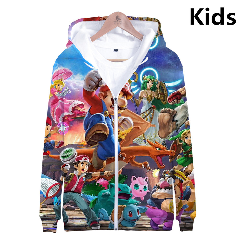 3 To 13 Years Kids Hoodie Super Smash Bros. / Zelda / Pikachu 3D Hoodies Sweatshirt Boy Girl Casual Jacket Coat Children Clothes