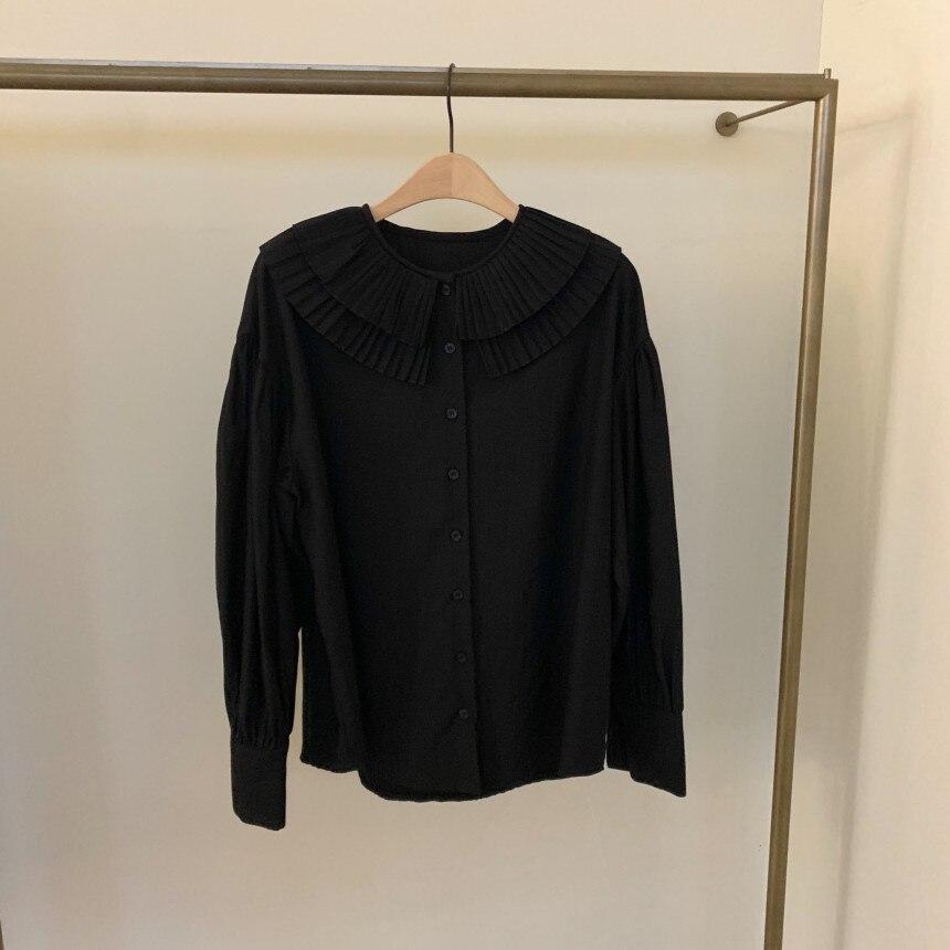 H0b6be9a368e1486f85cd354b90ec967eA - Spring / Autumn Korean Pilgrim Collar Long Sleeves White Blouse