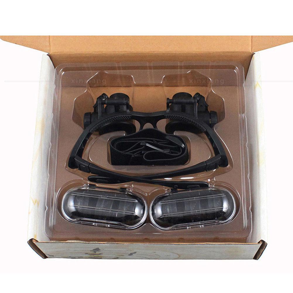 Купить с кэшбэком DishyKooker 10X 15X 20X 25X Magnifying Glass Set with Headband & LED Light Magnifier Watchmaker Jewelry Optical Lens